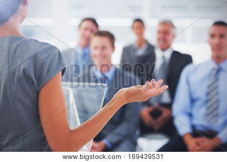 Rear view of Business woman misunderstanding