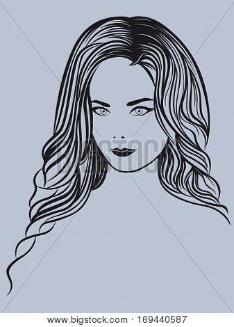 Attractive young beautiful lady portrait on the greyish background vector outline