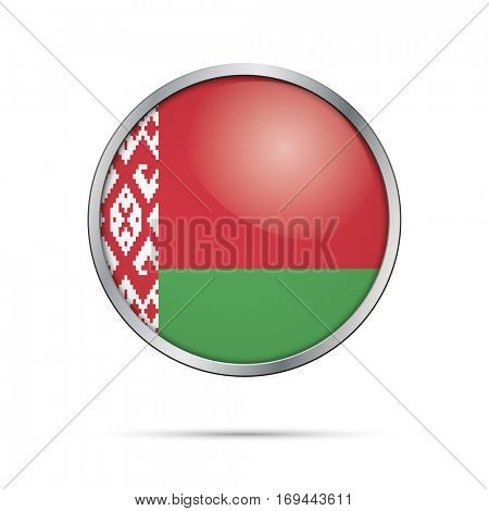 Vector Belorussian flag Button. Belarus flag glass button style with metal frame.