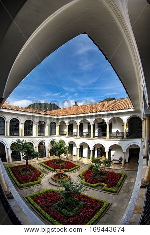 BOGOTA COLOMBIA - APRIL 23: The interior courtyard of the Botero Museum in Bogota Colombia on April 23 2016.