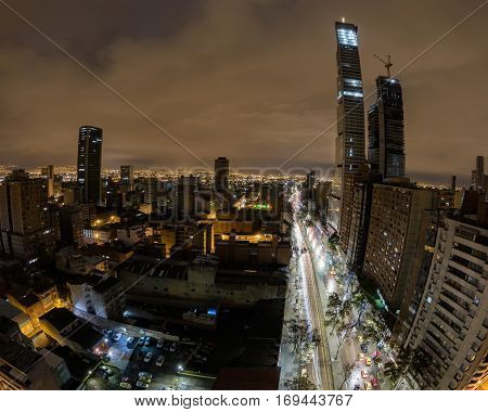 View of downtown Bogota Colombia with a fisheye lens at night.