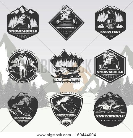 Black active leisure vintage logos set with drivers riding snowmobiles and skull on winter landscape isolated vector illustration