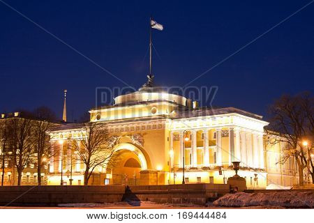 SAINT PETERSBURG RUSSIA: Building of the Admiralty. Built in 1719 the Admiralty with its ship weathervane on the spire become one of the symbols of the city
