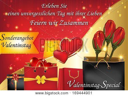Valentine's Day special offer. Enjoy it with us an unforgettable Valentines Day!  (German: Erleben sie einen unvergesslichen Tag mit ihrer Lieben. Feiern wir Zusammen). Format A3
