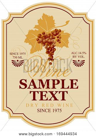 vector wine label with bunch of grapes