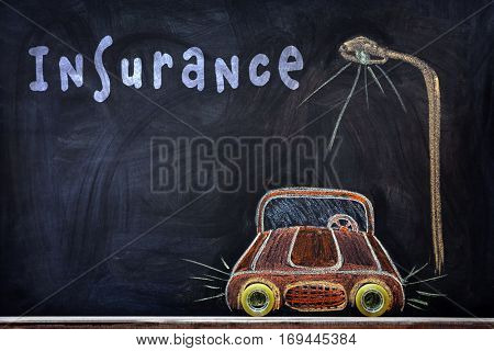 Car insurance concept. Car drawing on blackboard