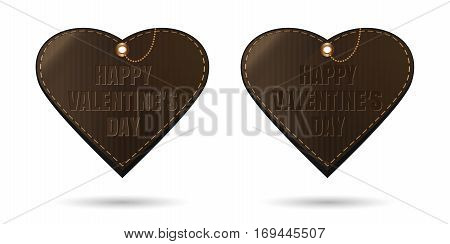 Set vintage leather hearts with congratulatory inscription - Happy Valentine's Day. Vector illustration isolated on white background