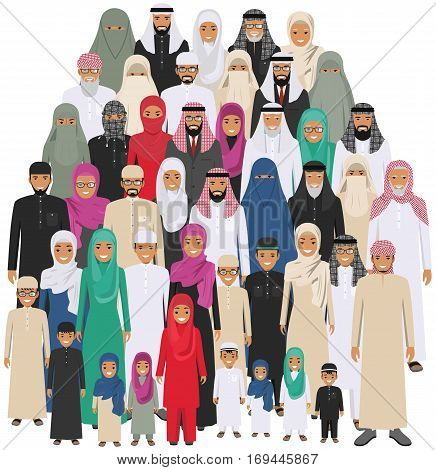 Arab men and women standing together in different traditional islamic clothes on white background in flat style. Different dress styles. Flat design people characters. Social concept. Family concept. Arabic men and women. Vector illustration.