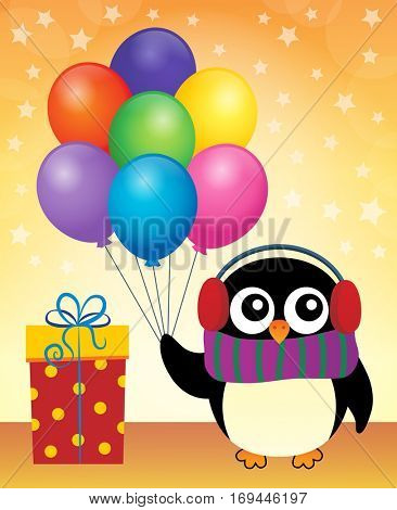 Party penguin theme image 9 - eps10 vector illustration.