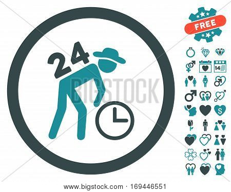 Around The Clock Work pictograph with bonus romantic pictograms. Vector illustration style is flat rounded iconic soft blue symbols on white background.