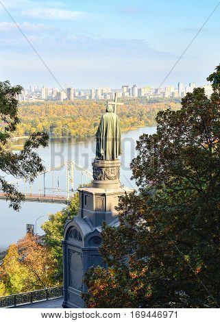 Kiev, Ukraine -  October 10, 2016: Vladimir hill, Dnieper river and view on the left bank of Kiev, Kiev Ukraine. Peaceful urban city scene. Saint Vladimir Monument in spring, Kiev, Ukraine.
