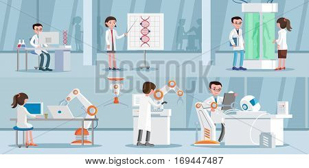 Artificial intelligence horizontal banners with scientists dna research genetic engineering and robotic cybernetic inventions vector illustration poster