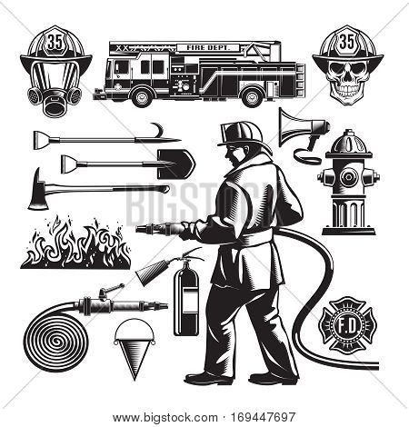 Vintage firefighting elements set with fireman truck flame and professional equipment in sketch style isolated vector illustration