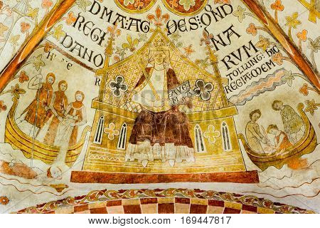 Queen Agnes and the murder of the king Erik Ploughpenny Romanescue fresco in St. Bendt church Ringsted Denmark - February 20 2015