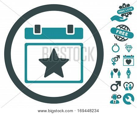 Favourites Day icon with bonus lovely pictograms. Vector illustration style is flat rounded iconic soft blue symbols on white background.