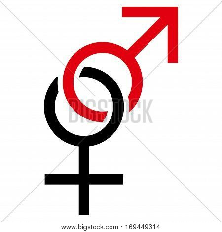 Sex Symbol flat icon. Vector bicolor red and black symbol. Pictogram is isolated on a white background. Trendy flat style illustration for web site design logo ads apps user interface.