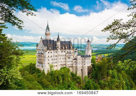 Beautiful View Of World-famous Neuschwanstein Castle, Fussen, Bavaria, Germany