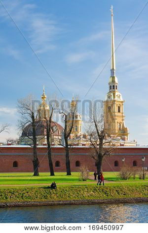The Peter and Paul Fortress is the original citadel of St. Petersburg Russia founded by Peter the Great in 1703 and built to Domenico Trezzini's designs from 1706-1740.