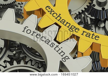 exchange rate forecasting concept on the gearwheels 3D rendering