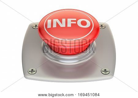 Info red button 3D rendering isolated on white background