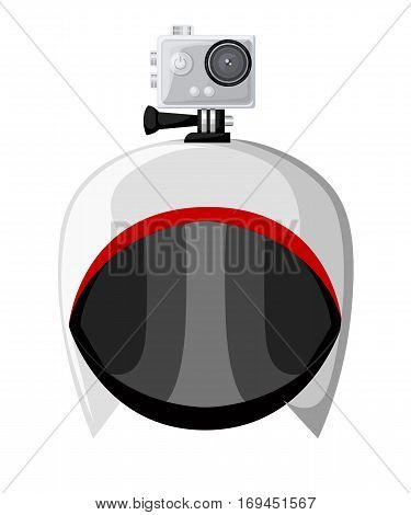 Action camera icons vector set flat style Realistic vector illustration. Gear for filming active rest.