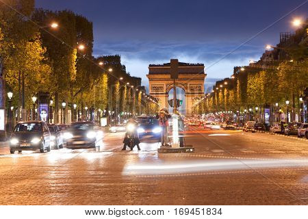 Arch of Triumph at night Paris France