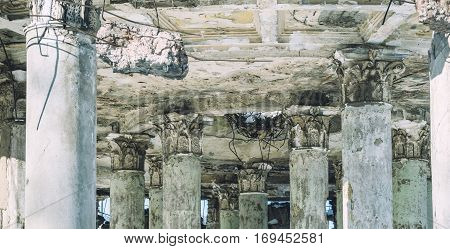 Columns ruined old hospital in the war. Rotunda, Voronezh. Destroyed building concept