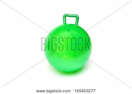 Green hopper ball for kids isolated on white