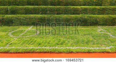 Artificial Green Turf Grass at Soccer Field