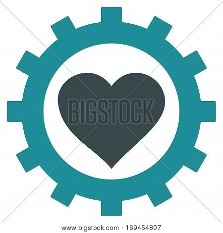 Love Heart Options Gear flat icon. Vector bicolor soft blue symbol. Pictogram is isolated on a white background. Trendy flat style illustration for web site design logo ads apps user interface.