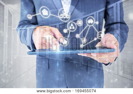 Smartphone apps icons against composite image of close up view of businessman using tablet computer Close up view of businessman using tablet computer against grey background 3d