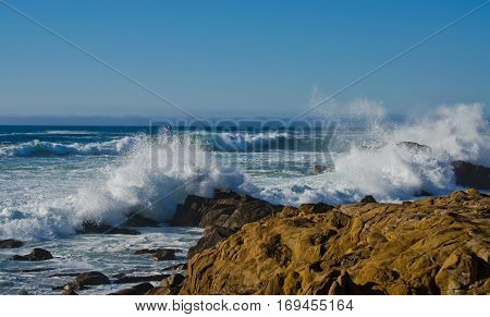 Crashing Waves on the Northern California Coastline