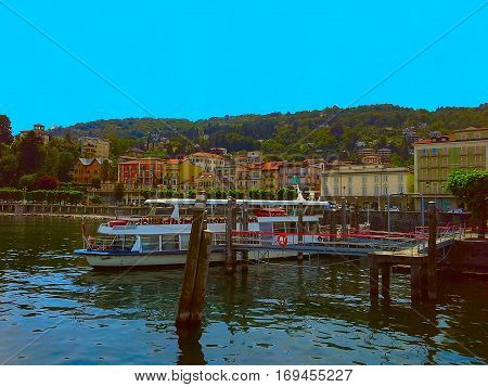 Boat pier of Stresa a town on the shores of Lake Maggiore Verbano Piedmont Italy