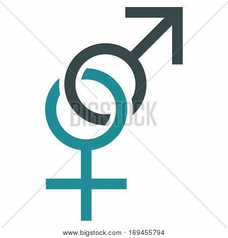 Sex Symbol flat icon. Vector bicolor soft blue symbol. Pictograph is isolated on a white background. Trendy flat style illustration for web site design logo ads apps user interface.