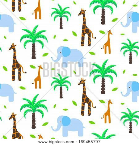 Savannah animals baby seamless pattern vector. Giraffe and elephant with palm trees on white background.