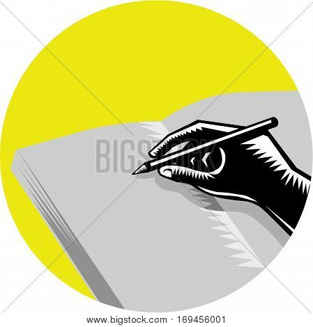 Illustration of a hand writing in journal set inside circle on isolated background done in retro woodcut style.