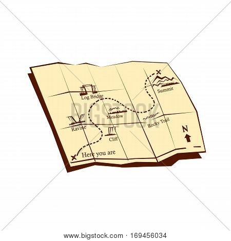 `Illustration of a folded Trail Map with