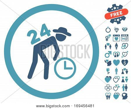 Around The Clock Work icon with bonus valentine symbols. Vector illustration style is flat rounded iconic cyan and blue symbols on white background.