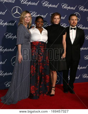PALM SPRINGS - JAN 2:  Kirsten Dunst, Octavia Spencer, Kimberly Quinn, Theodore Melfi at the PSIFF Gala at Palm Springs Convention Center on January 2, 2017 in Palm Springs, CA