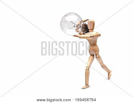 Wood Figure Mannequin carrying an incandescent light bulb