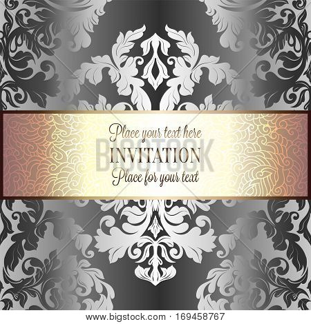 Baroque Background With Antique, Luxury Silver And Gold Vintage Frame, Victorian Banner, Damask Flor
