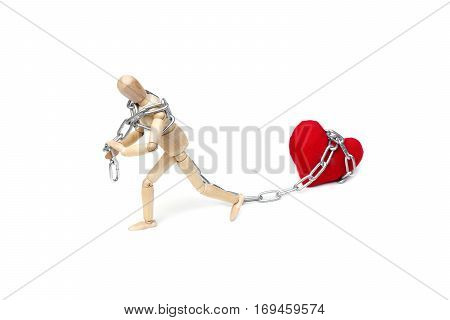 Wood Figure Mannequin using a chain to pull a big red heart