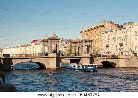 SAINT-PETERSBURG RUSSIA: Lomonosov Bridge across the Fontanka River in St. Petersburg Russia