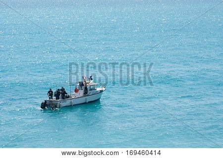 Nice France 03 may 2012: A boat with divers on Sea