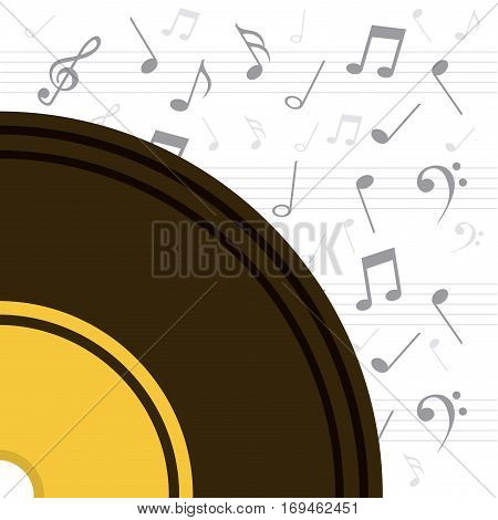 vinyl with musical notes around over white background. colorful design. vector illustration
