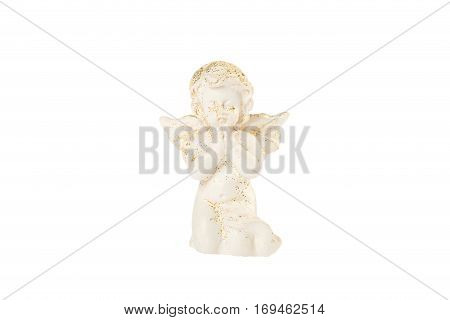 Little baby angel praying isolated on white background