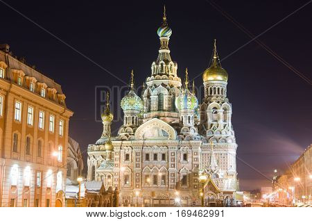 The church by the canal. White nights, Saint-Petersburg, Russia.Night view of Griboyedov Canal and Church of the Savior on Blood.