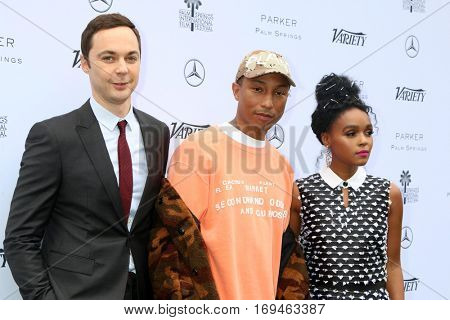 Palm Springs - JAN 3:  Jim Parsons, Pharrell Williams, Janelle Monae at the Variety's Creative Impact Awards and 10 Directors to Watch at the Parker Palm Springs on January 3, 2017 in Palm Springs, CA