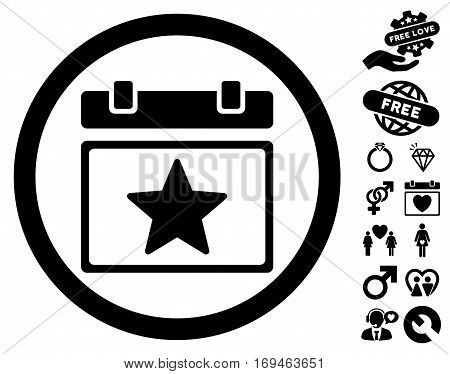 Favourites Day pictograph with bonus amour icon set. Vector illustration style is flat rounded iconic black symbols on white background.