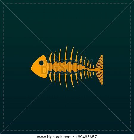 Fishbone. Color symbol icon on black background. Vector illustration